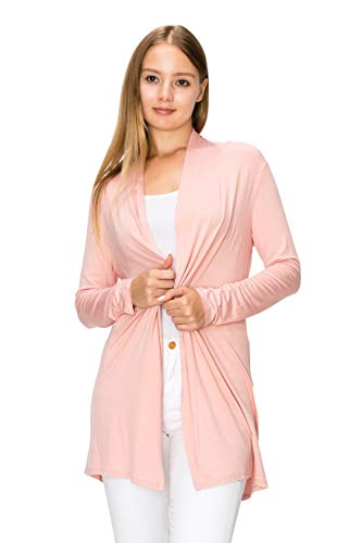 Light Pink Rose - EttelLut Long Open Front Lightweight Cardigan Sweaters Regular and Plus Size Dusty Rose XL
