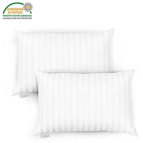 OasisCraft Premium Soft Pillow for Sleeping - Hotel Quality 100% Cotton Bed Pillow with Hollow Fiber 2 Pack Queen Size (20