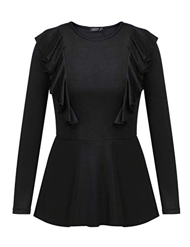ANGGREK Womens Casual Fashion Solid Round Neck Ruffle Sleeve Peplum Top for Fall Black M