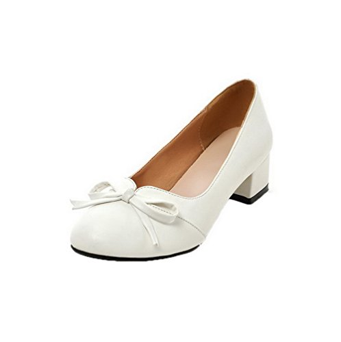 Allhqfashion Dames Ronde Neus Pu Lage Hakken Pull-on Stevige Pumps-schoenen Wit