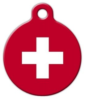 Swiss Tag - Swiss Flag Pet ID Tag for Dogs and Cats - Dog Tag Art - LARGE SIZE