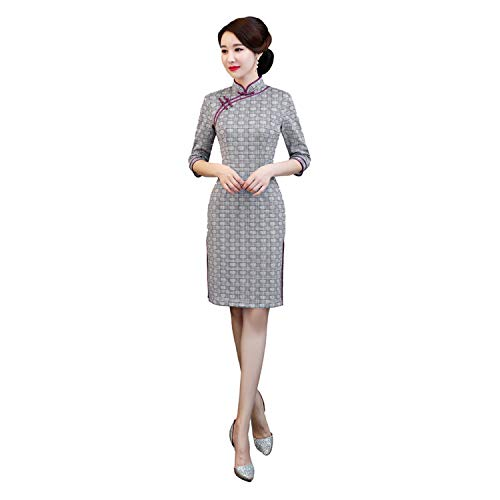 Winter 3/4 Sleeve Knee Length Suede Cheongsam Dress Plaid Chinese Traditional Qipao Dresses,15,XXL