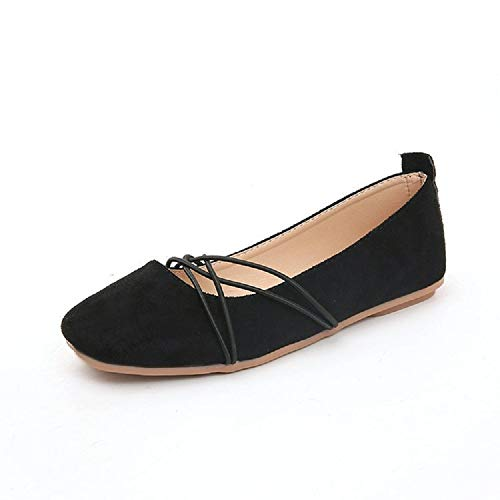 Confort Tamaño Qiusa color Negro Negro 40 Elástico Eu Para Faux Suede Ballet Mujeres Flats 5x1TZRx