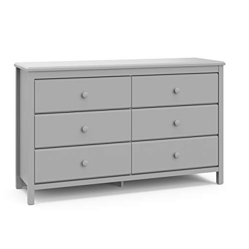 Storkcaft Alpine 6 Drawer Dresser Pebble Gray Stylish Storage Dresser Chest for Bedroom, 6 Spacious Drawers with Handles, Coordinates with Any Kids Bedroom or Baby Nursery