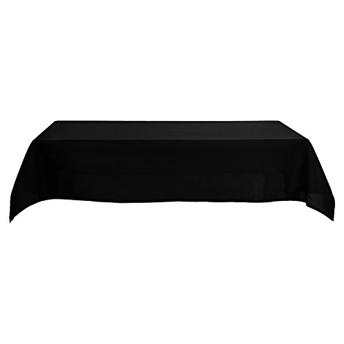 Deconovo Solid Oxford Decorative Rectangle/Oblong Water Resistant Tablecloth For Picnic, 60x102-inch, Black