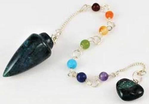 Bloodstone 7 Chakra Gemstone Pendulum with Chain (Crystal Reiki Seven)