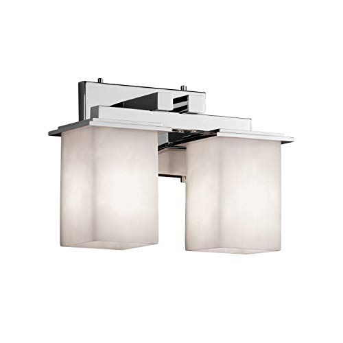 Justice Design Group Clouds 2-Light Bath Bar - Polished Chrome Finish with Clouds Resin Shade ()