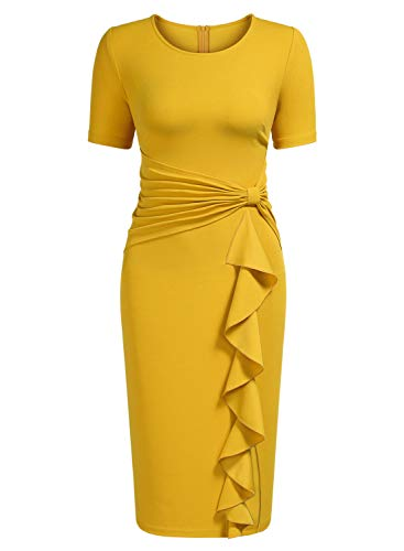 - AISIZE Women's 50s Vintage Ruffle Draped Short Sleeve Bodycon Cocktail Knee Dress Yellow