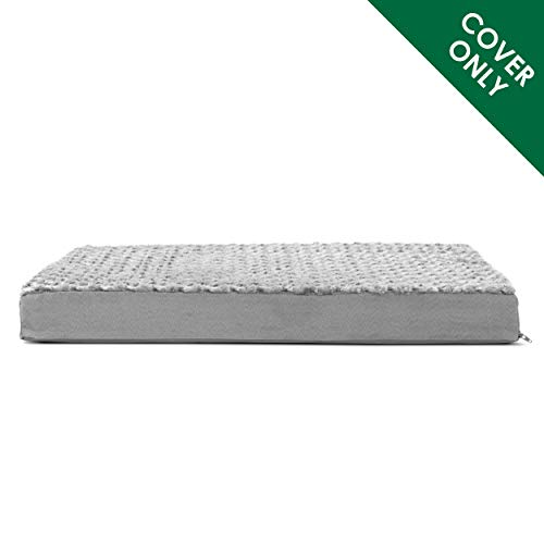 Furhaven Pet Dog Bed Cover | Deluxe Mat Ultra Plush Faux Fur Traditional Foam Mattress Pet Bed Replacement Cover for Dogs & Cats, Gray, Jumbo