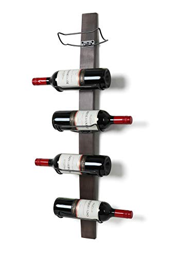 (SODUKU Wall Mounted Wine Rack - Wine Bottle Holder Towel Rack, 5 Wine Bottle Rack Holder Shelf Rustic Wood Wall Wine Rack No Need Assembly (Brown))