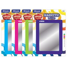 3 Pk, BAZIC Magnetic Locker Mirror - 5.5'' X 7'' (Colors May Vary) by Bazic