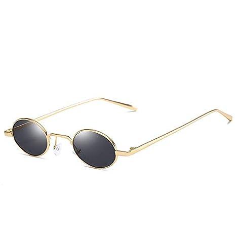 Amazon.com : Retro Women Men Oval Metal Frame Sunglasses ...
