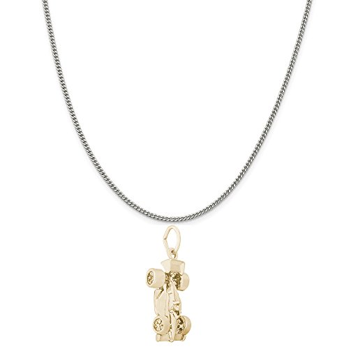 Rembrandt Charms Two-Tone Sterling Silver Indy Car Charm on a Sterling Silver Curb Chain Necklace, 20