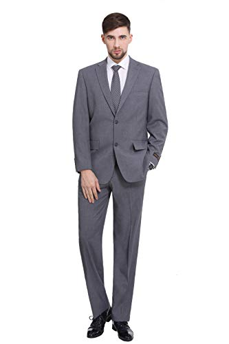 P&L Men's Two-Piece Classic Fit Office 2 Button Suit Jacket & Pleated Pants Set, Grey, 46 Short / Waist 40