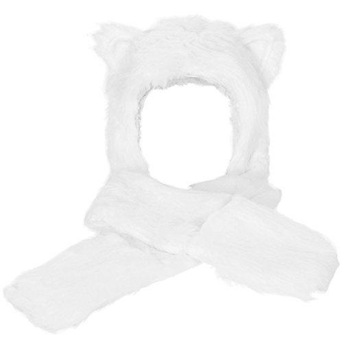 Simplicity Ultifunction Animal Hats As Earmuffs, Scarf, Gloves, White (White Bear Ears)