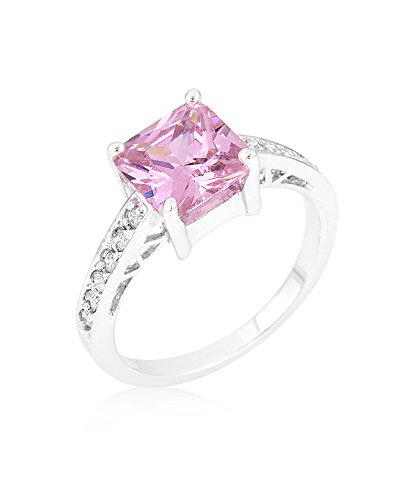 Rhodium Plated to .925 Sterling Silver Bonded Princess Isabella Ring with Pink Ice Color CZ Size 10