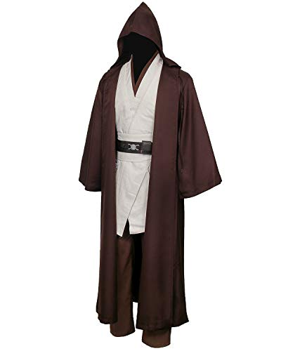 Jila Men & Kids Tunic Hooded Robe Cloak Knight Gothic Fancy Dress Halloween Masquerade Cosplay Costume Cape (M, Brown Tunic Cloak Set) -