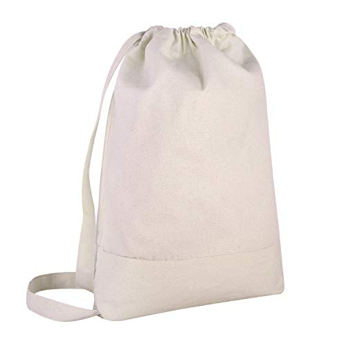 - BagzDepot Canvas Durable Gym Drawstring Backpack 2 Tone, Wholesale Priced (12 Pack, Natural)