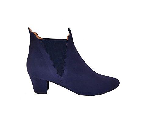 Botines Chelsea de Piel para Mujer con Cierre de Elastico y Olas + Tacon Cubano Bajo 5 cm + Punta Fina Redondeada Cerrada: Amazon.es: Zapatos y complementos