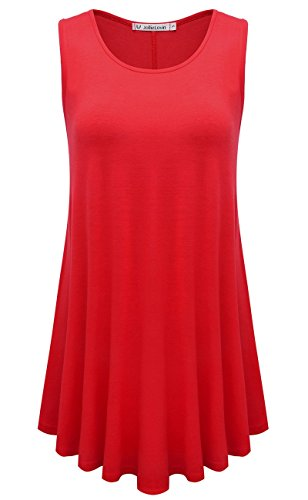 JollieLovin Womens Sleeveless Comfy Plus Size Tunic Tank Top with Flare Hem - Red, 3X ()