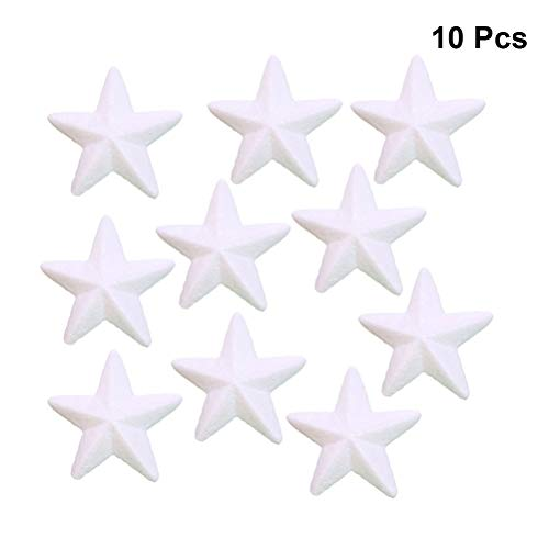 YeahiBaby 10pcs White Foam Balls Star Shape Christmas Craft Ball Art Decoration Styrofoam Christmas DIY Craft Kits Xmas Ball Ornaments 7.5cm -