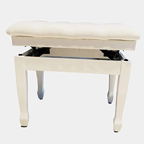 ピアノスツール 1人用ソリッドウッド肥厚ソフトピアノ椅子防水調節ピアノスツール古筝エレクトリックピアノベンチ (色 : 白, サイズ : 60x40x58cm)