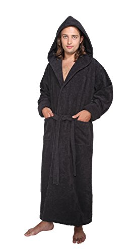 Arus Men s Hood n Full Ankle Length Hooded Turkish Cotton Bathrobe L ... 2573f4a1a