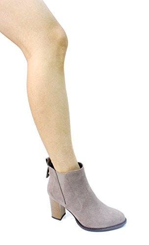 Guoar Kvinnor Stängd Tå 8.5cm Blockera Höga Klackar Dressy Ankel Stövlar B-grå