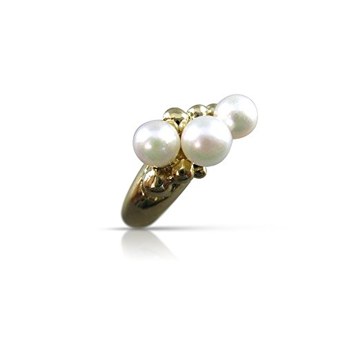 Akoya Pearl 14kt Gold Ring - Milano Jewelers 5MM AKOYA SEA PEARL 14KT YELLOW GOLD CLUSTER JOURNEY COCKTAIL RING #21392