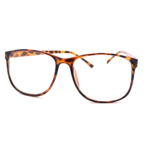 MJ Boutiques Tortoise Large Nerdy Thin Plastic Frame Clear Lens Eye Glasses Frame