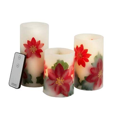 (Poinsettia Real Wax Flameless LED Pillar Candles with Remote Control, Set of 3)