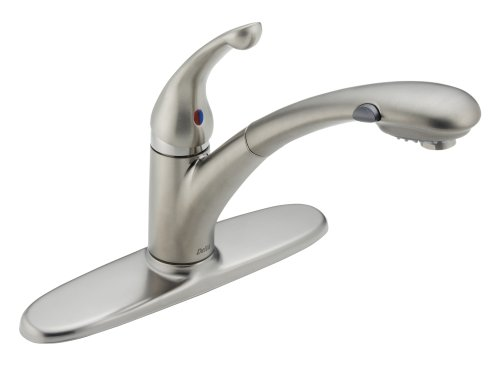 Delta Faucet Signature Single-Handle Kitchen Sink Faucet with Pull Out Sprayer, Stainless 470-SS-DST