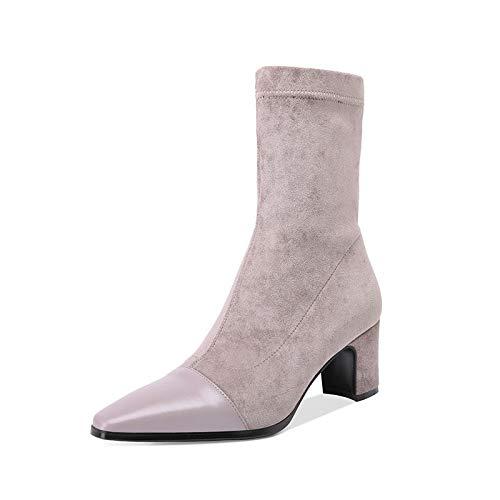 Grey pour Pointu Bottines Courtes Le sur Bout côté Femmes à x4zwP