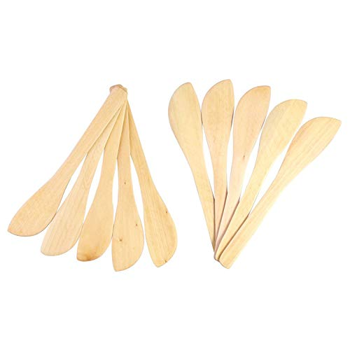 TOOGOO 1 Set 10 Bamboo And Peanut Butter Cheese Spreading Knife, Mask Wipe Wooden Dumpling Spoon Smudge Knife 10 Piece Set