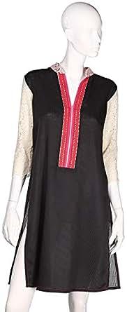 Sana'A Kayum Women'S Short Kurta Black Skca-101020