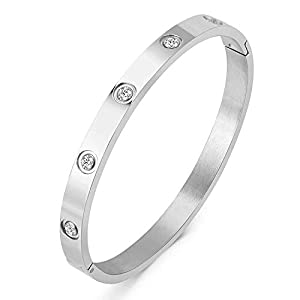 Titanium Steel Bangle Bracelets for Women Bangle Bracelet Set in Heart and CZ Stone Jewelry Fits 6.5 Inch Wrists