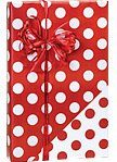 Reversible RED & WHITE POLKA DOTS Christmas Gift Wrap Wrapping Paper - 16ft Roll (Christmas Stripe Gift Wrap)