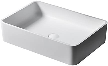 JinYuZe Above Counter Vessel Sink,Bathroom White Stone Resin Vanity Sink with Drain,Matte White