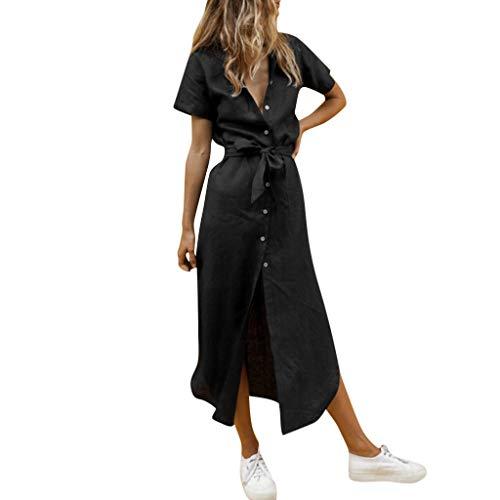 Kulywon Women Summer Style Feminino Vestido T-Shirt Casual Plus Size Ladies Dress Black ()