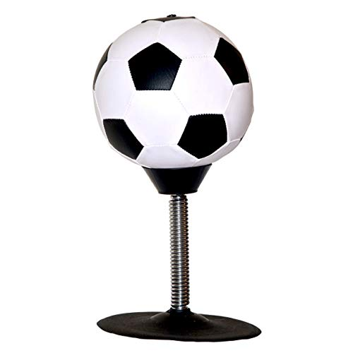 Desktop Mini Punching Bag  Great Stress Relief - Inflatable Soccer Ball Shape with Suction Cup, Great for Adult and Kids, Perfect for The Office. Whack It, Slap It, Punch It! (Shape Ball Stress Sports)