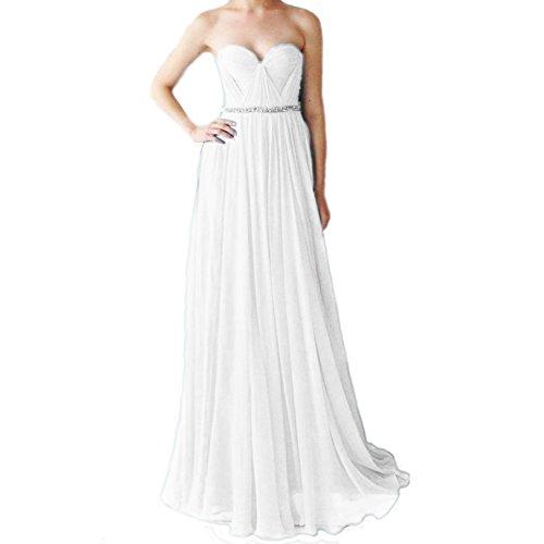 Damen linie A Festkleider LuckyShe Silk Ballkleid Chiffon Abendkleider Lang Elfenbein Elegant Oqz8wWd8