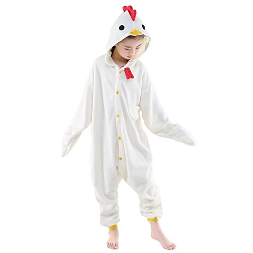 Newcosplay Children Fleece Pajamas Unisex Cartoon Costume (115, White chicken) for $<!--$22.99-->
