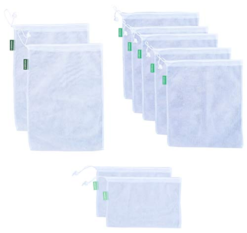 Earthwise Reusable Mesh Produce Bags - SEE-THROUGH - Set of 9 - ULTRA STRONG LIGHTWEIGHT MESH, Barcodes scan through 12x17in, 12x14in, 12x8in