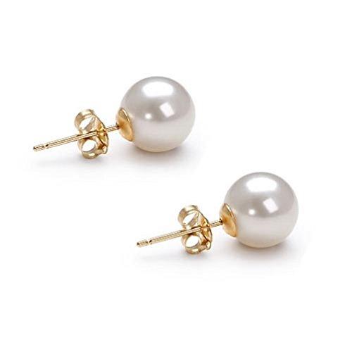 Akoya Cultured Pearl Earrings Stud AAAA 7mm White Cultured Pearls Earring Set 14K Yellow Gold - Pendant Japanese Pearl Akoya