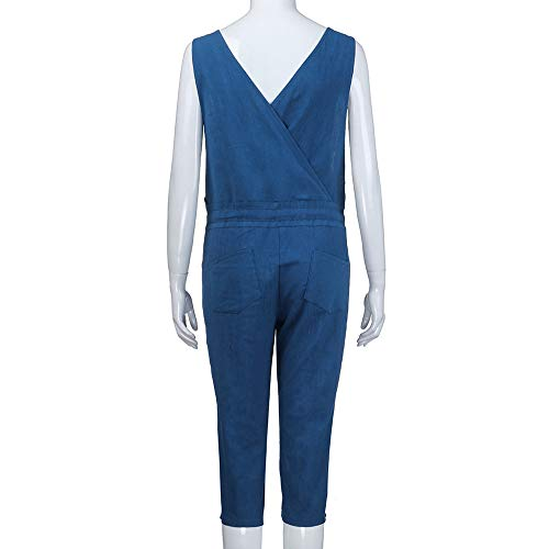 Salopette Casual Bleu Sarouel Amuster Romper Ample Coton Couleur Unie Jumpsuit Large Pantalon Femme Combinaison Harem nwxFqOa0