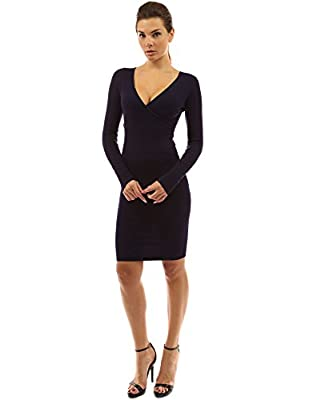 PattyBoutik Women's V Neck Long Sleeve Knit Dress