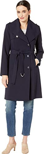 Calvin Klein Women's Double Wave Draped Belted Coat Navy Small ()
