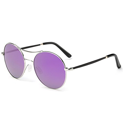 A-Roval Women Polarized Round Large Fashion Metal Sunglasses - Sunglasses For Face What Kind Round Of