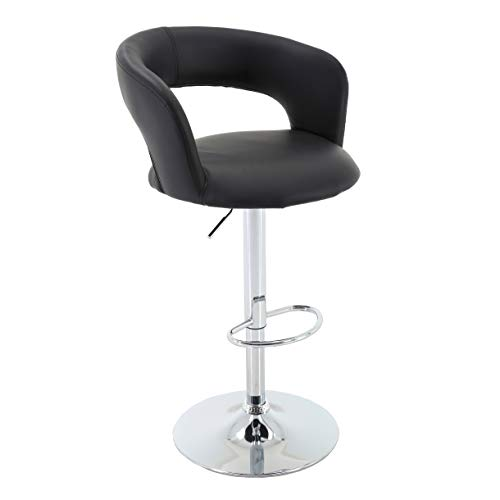 Brage Living Adjustable Height PU-Leather Bucket Seat Bar Stool with Footrest Black