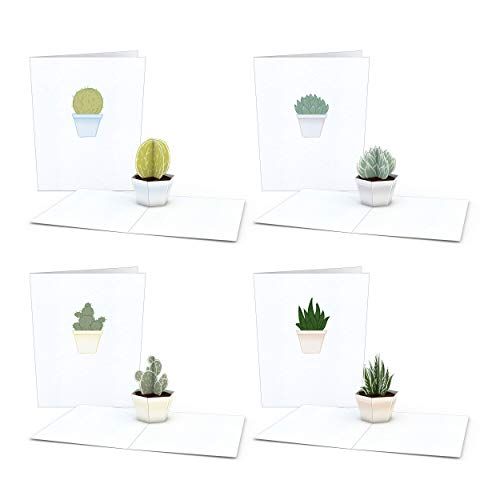 Lovepop Notecard 4-Pack Pop Up Cards, Succulent Birthday Cards, Thank You Cards With Envelopes, Thank You Notes Greeting Cards, 3D Card, Greeting Card, Pop Up Notecard (Is Cactus Barrel A What)